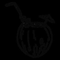 Mão de bebida de coco desenhada