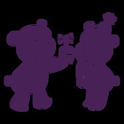 Fofo aniversário ursos plana