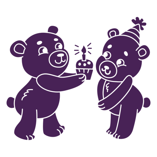 Cute birthday bears flat Transparent PNG