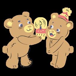 Mão de ursos de aniversário fofo desenhada