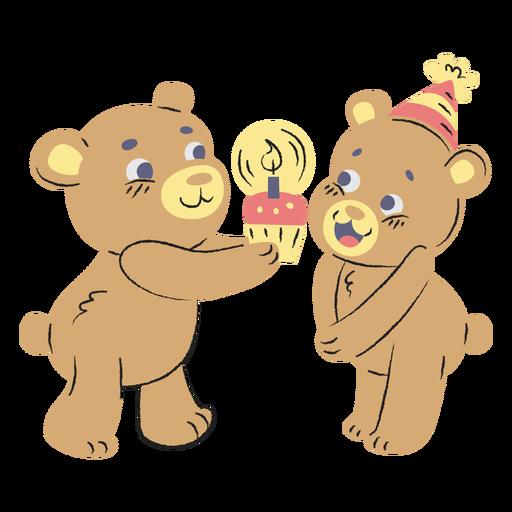 Cute birthday bears hand drawn Transparent PNG