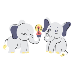 Cute birthday elephants hand drawn