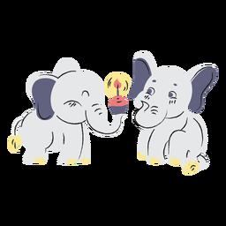 Elefantes de cumpleaños lindo dibujado a mano