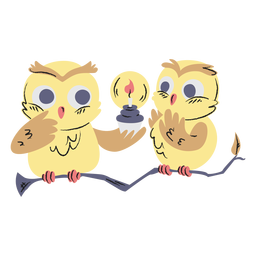 Cute birthday owls hand drawn