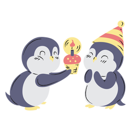 Cute birthday penguins hand drawn