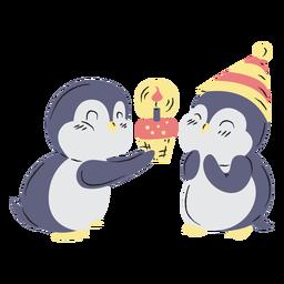 Dibujado a mano lindo cumpleaños pingüinos