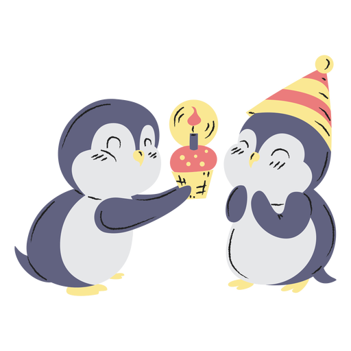 Cute birthday penguins hand drawn Transparent PNG