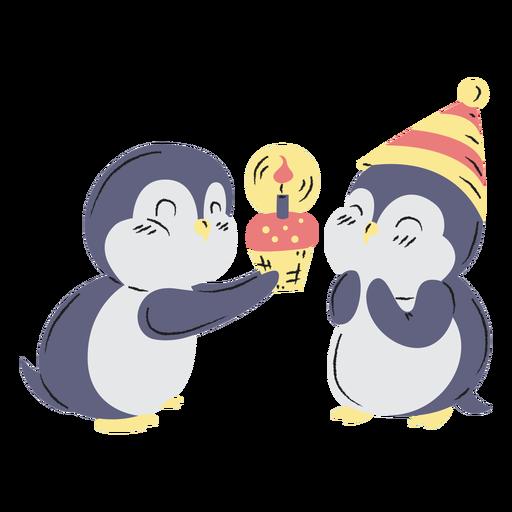 Cute birthday penguins hand drawn