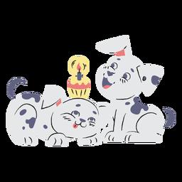 Mão de aniversário de filhotes de cachorro dálmatas bonito desenhada