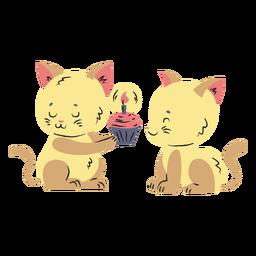 Dibujado a mano gatitos lindos cumpleaños