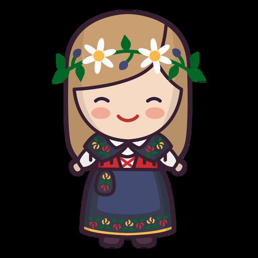 Cute swedish girl character Transparent PNG