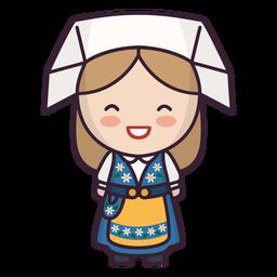 Cute swedish woman character