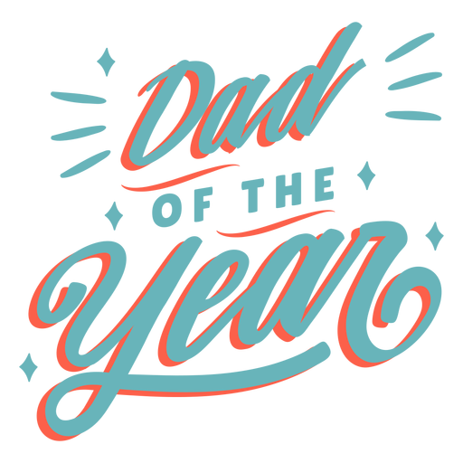 Dad of the year cursive lettering