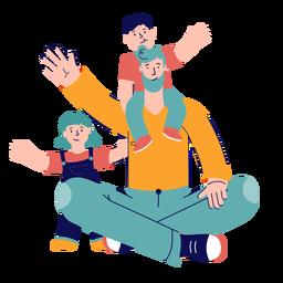 Padre con niños ondulación carácter