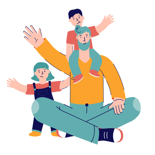 Father with kids waving character