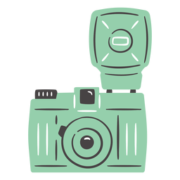Flash vintage camera hand drawn