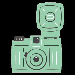 Mão de câmera vintage flash desenhada