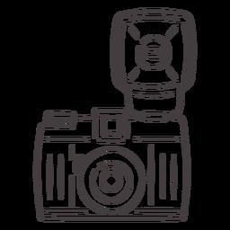 Ícone do traçado da câmera vintage flash