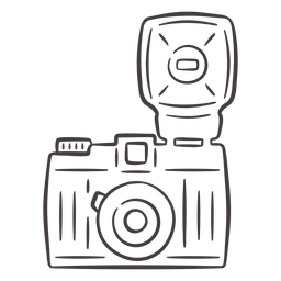 Icono de trazo de cámara vintage flash