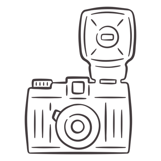 Flash vintage camera stroke icon Transparent PNG