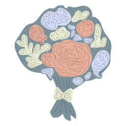 Flower bouquet blue hand drawn