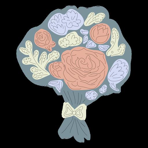 Ramo de flores azul dibujado a mano