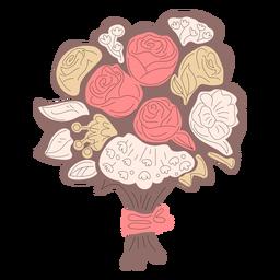 Mão de buquê de flores marrom desenhado