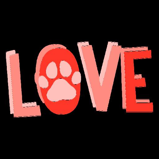 Footprint love lettering Transparent PNG