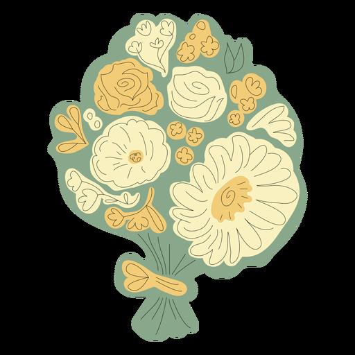Dibujado a mano ramo de flores verdes