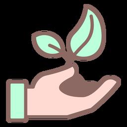 Mano dando planta con color de suciedad