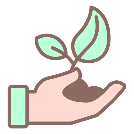 Hand giving plant with dirt color Transparent PNG