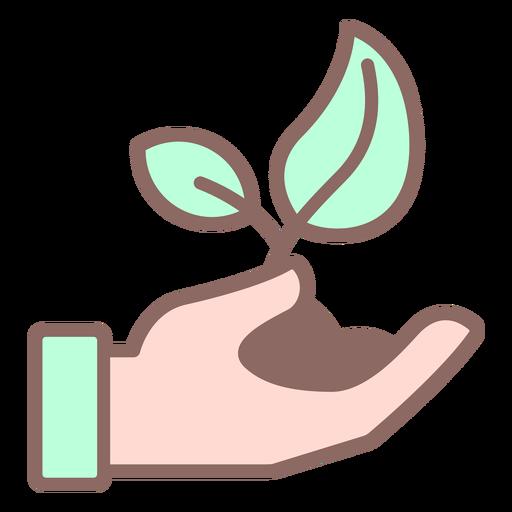 Planta dando mano con color tierra. Transparent PNG