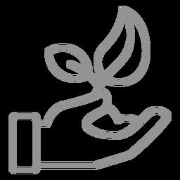 Mano dando planta con trazo de tierra