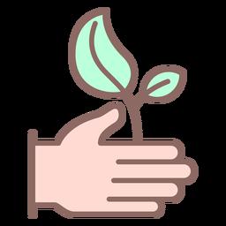 Icono de planta dando mano