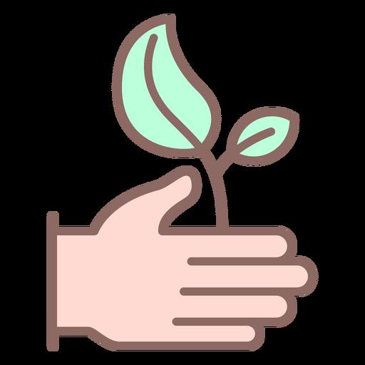 Mano dando icono de planta