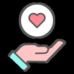 De la mano con el icono del corazón