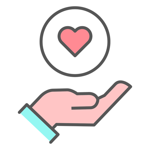 Hand with heart icon Transparent PNG