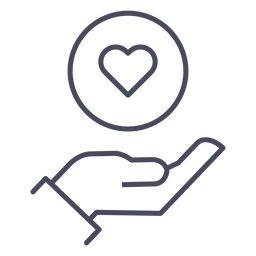 Hand with heart icon hand