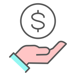 De la mano con el icono de dinero
