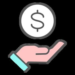 Mão com ícone de dinheiro