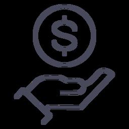 Mano con mano de icono de dinero