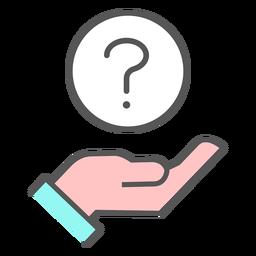 Mão com ícone de ponto de interrogação