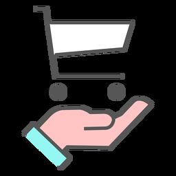 De la mano con el icono de color del carrito de compras