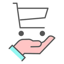 Hand with shopping cart color icon