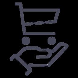 Mão com o ícone do carrinho de compras