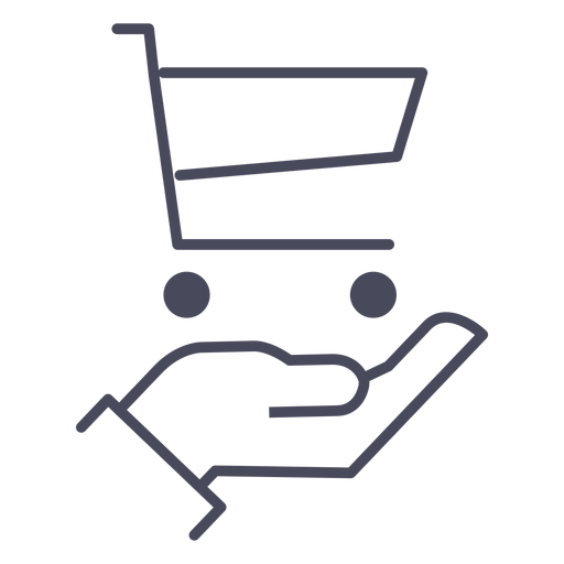 Hand with shopping cart icon