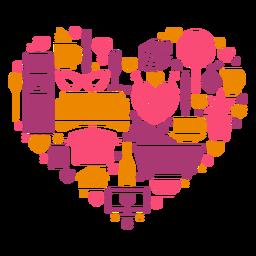 Coração de elementos da casa