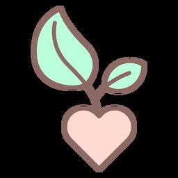 Corazón con icono de árbol joven