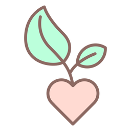 Corazón con icono de pimpollo