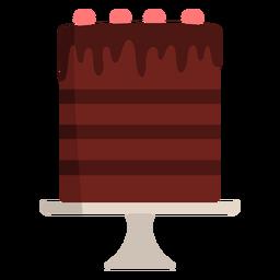 Pastel de chocolate en capas plano